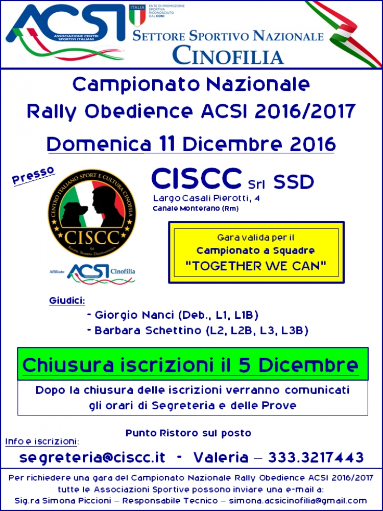Campionato Rally Obedience ACSI 2016/2017